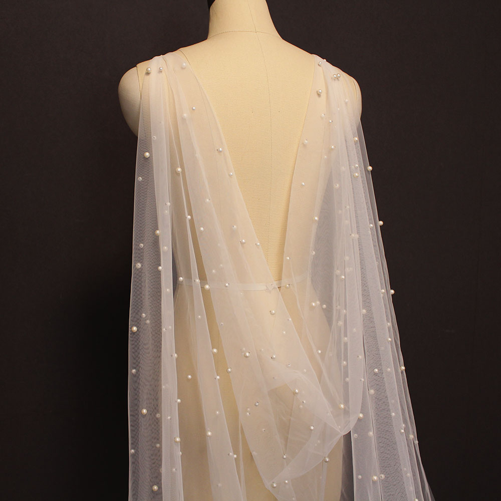 New Arrival Pearls Bridal Wraps 3 Meters Long Bridal Cape White Ivory Bolero Shrugs For Bride Wedding Accessories