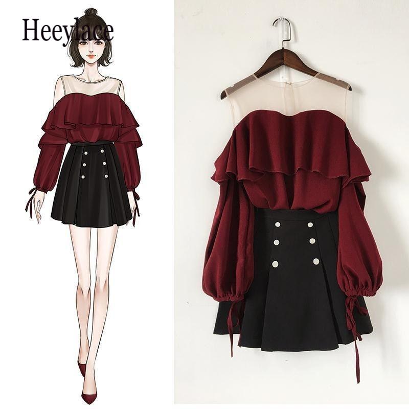 Ruffles Women Chiffon Mesh Off Shoulder Blood Red Top & High Waist Skirt 1