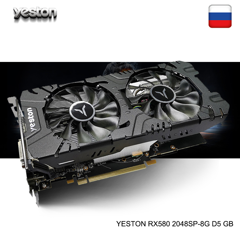 Yeston Radeon <font><b>RX</b></font> <font><b>580</b></font> GPU 8GB <font><b>GDDR5</b></font> 256bit Gaming Desktop computer PC Video Graphics Cards support DVI-D/HDMI/DP PCI-E X16 3.0 image
