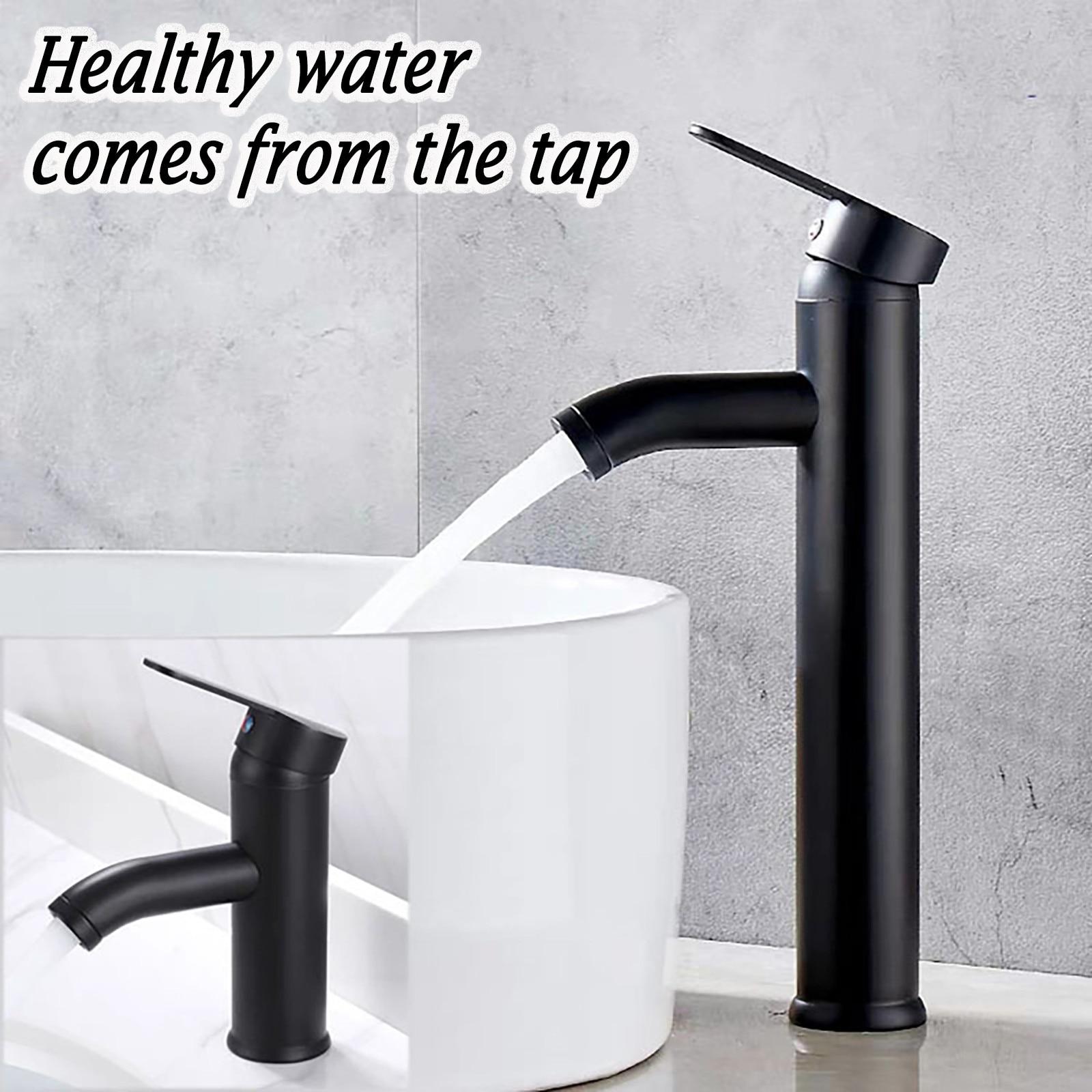 Preto fosco torneira da pia do banheiro único punho design fosco quente e fria wate elegante lavatório torneira misturadora da bacia