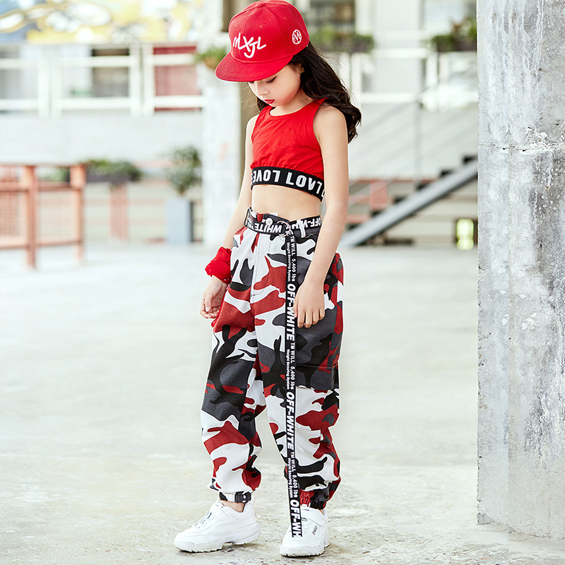 Children Camouflage Hip Hop Long Pants Children Hip Hop Hoodie Hiphop Hip Hop Loose-Fit Jazz Costume Jazz Fashion