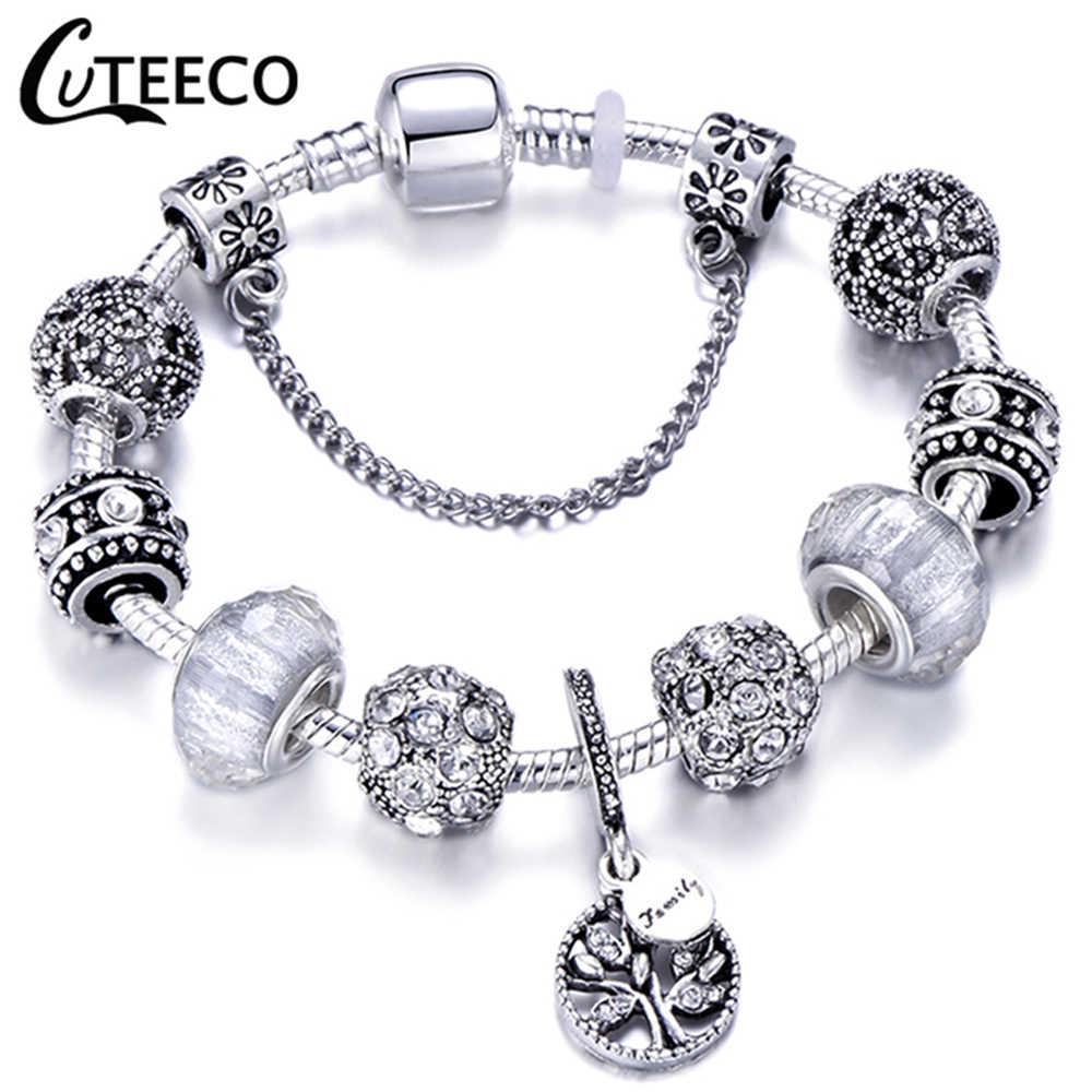 Cuteeco rosa pingente árvore da vida charme pulseira para mulheres unicórnio grânulo pulseiras & pulseiras moda jóias pulseras mujer