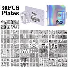 Beautybigbang estampagem de unhas, 30 peças, modelos diferentes de 6cm quadrados com cartão de carimbo, flor, carimbo de nail art placas placas