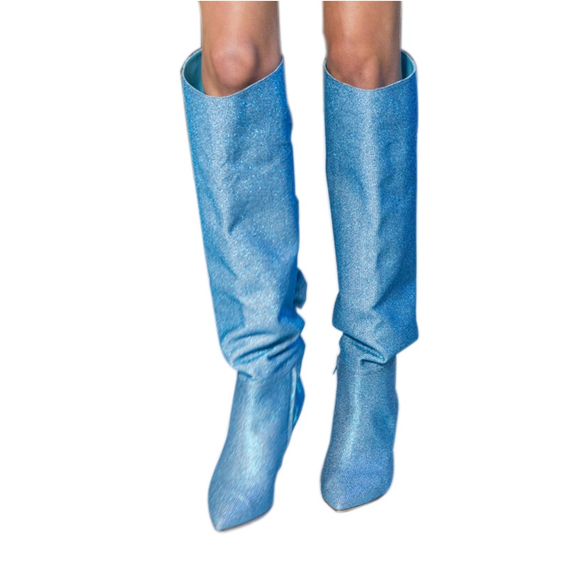 Sequined Knee High Boots Bowtie Decor High Heel Stiletto Shoes Slip On Pointed Toe Medium Heels 4 cm Winter Runway Party Shoes