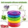 12 шт. браслеты против комаров многоцветные браслеты для борьбы с вредителями защита от насекомых кемпинг на открытом воздухе взрослые дети ...