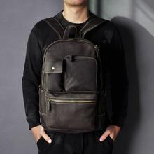 Men Quality Leather Fashion Large Travel University College School Bag