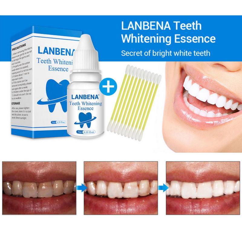 Отбеливание зубов, 10 мл зуб ярче жидкости с ватные тампоны чистки зубов Сыворотки для того, чтобы удалить от зубных пятен TSLM2 LANBENA