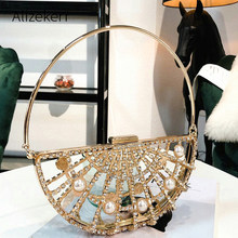 Hollow Out Metallic Clip Handbag Women New Korean Alloy Diamonds Pearl Golden Dinner Evening Bag Ladies Half Moon Purse Party(China)