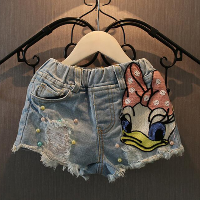 Джинсовые шорты для маленьких девочек летние джинсы с рисунком утки для девочек детские джинсовые штаны с блестками и дырками, Детские укор...