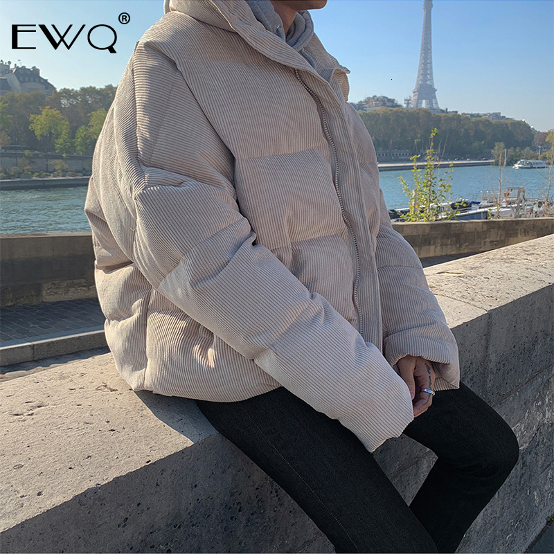 EWQ / Corduroy Loose Cotton-padded Clothes for Male Grey And Black Short style Thickening Keep Warm winter male's clothing Y0039
