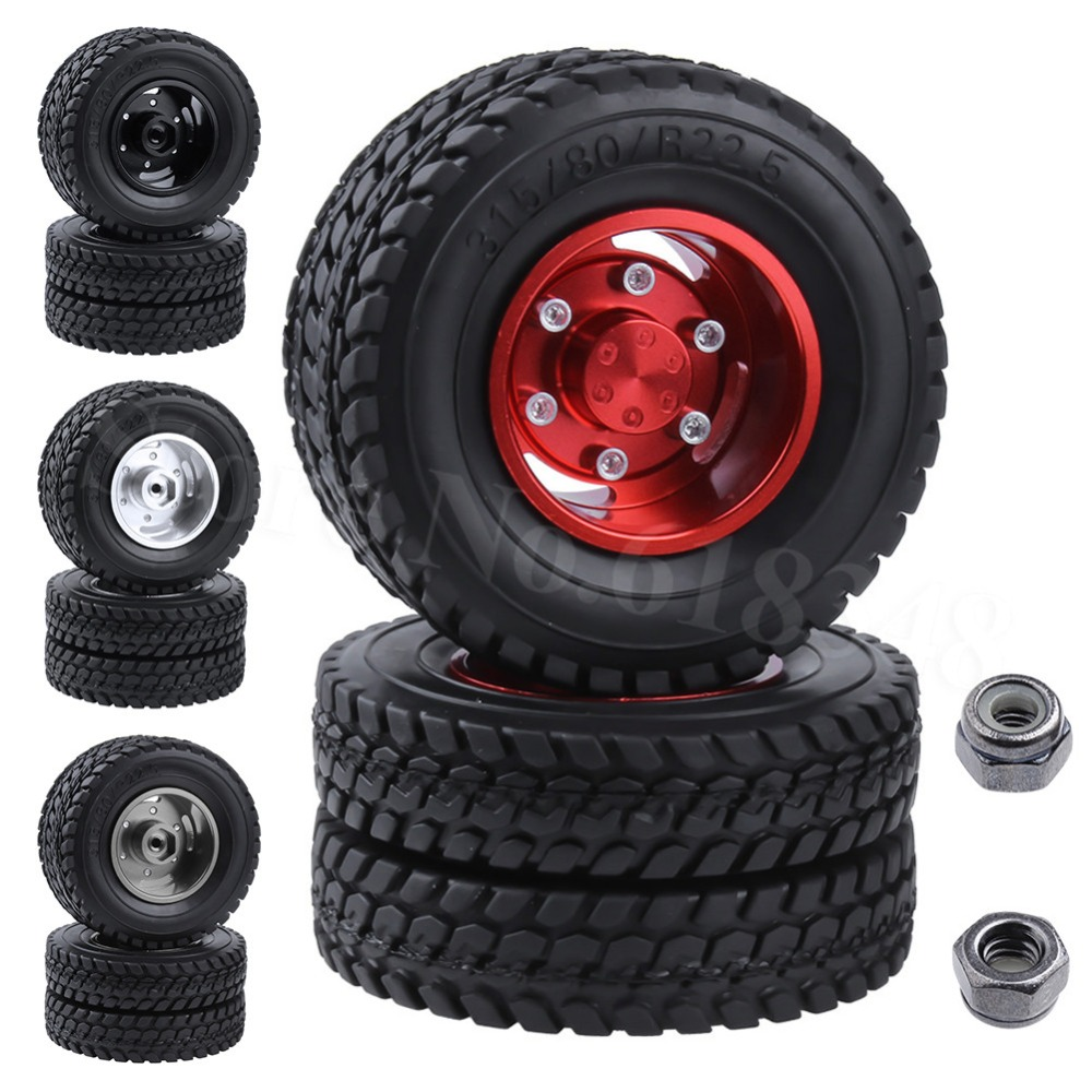 2pcs/Lot Twin Aluminum Wheels & Tires for <font><b>Tamiya</b></font> <font><b>1/14</b></font> <font><b>RC</b></font> Tractor Trailer <font><b>Truck</b></font> Tyres Upgrade Parts OP Replacement image