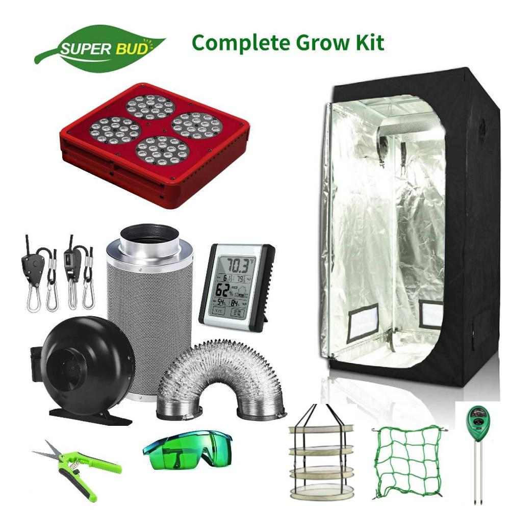 """SuperBud Complete Grow Tent Kit Hydroponic 4""""/ 5''/ 6"""" Air Ventilation Odor Control System+ Grow Tent Combo+ LED Grow Light"""