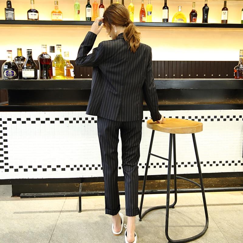 Korean Fashion New 2020 Vintage Striped Blazer Women Double Breasted Vintage Business Suits Ladies 2 Pieces Sets LX2145