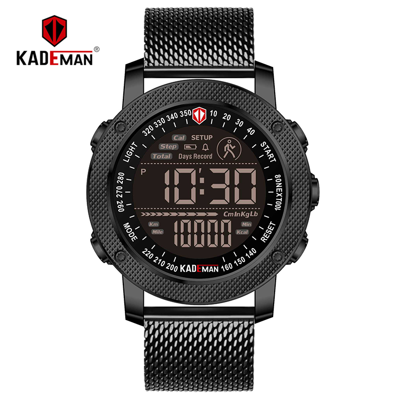 TOP Sport Mens Watch Step Count LED Display Digital Watch Outdoor Waterproof KADEMAN Casual Leather Wristwatch Relogio Masculino
