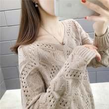 Женский трикотажный пуловер с вырезом и длинными рукавами новинка