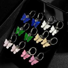 BYNOUCK − boucles d'oreilles pour femmes, petit pendentif en acrylique, une paire, goutte papillon, bijoux, style bohème, couleur argent, tendance, 2020