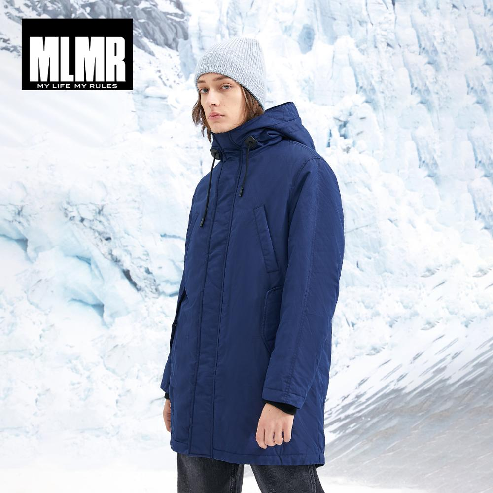 MLMR Men's Hooded Parka Coat Long Padded Jacket Quality Outerwear JackJones New Brand Menswear 218409514