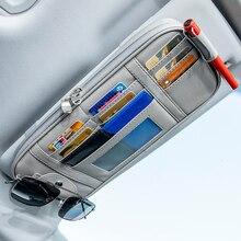 سيارة قناع المنظم صندوق تخزين النظارات الشمسية كليب تستيفها tidie اكسسوارات السيارات حقيبة بيل حامل بطاقة القلم CD DVD المنظم