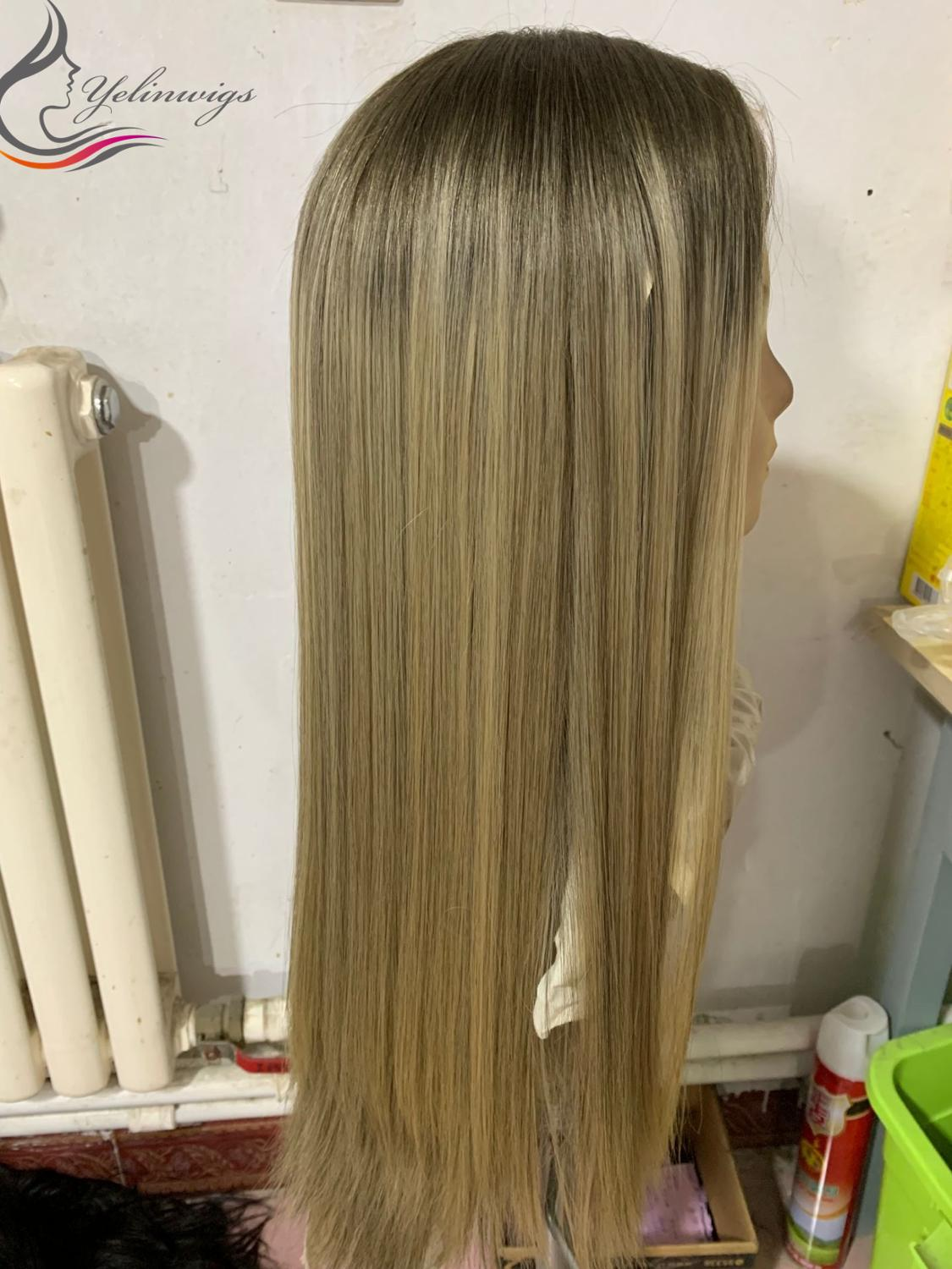 Fashion Blonde Color Dark Root Lace Top Wigs New Arrival Blonde European Hair Wig Jewish Wig Kosher Wigs