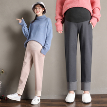 Hairy Maternity Pants Contrast Color Pregnancy Straight Trousers Autumn Casual Korean Clothes for Pregnant Women