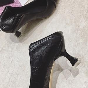 Image 4 - 2020 נשים משאבות אביב סתיו נשים גבוהה עקבים נעלי אופנה נשי 6cm העקב משרד גבירותיי להחליק על עבודה נעליים הנעלה שחור