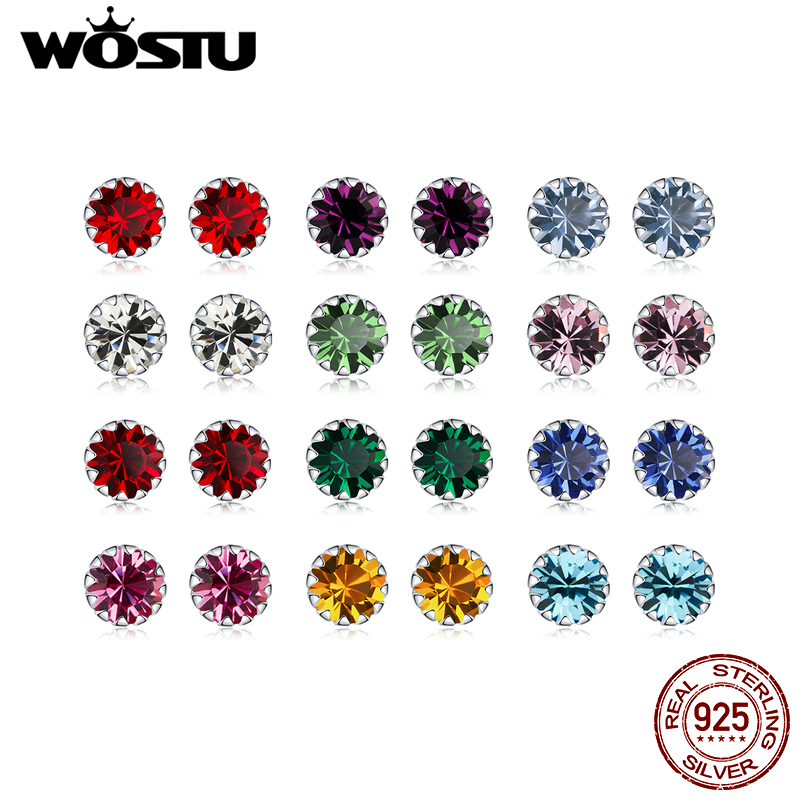 WOSTU 100% 925 Sterling Silver 12 Color Birthstone Small Stud Earrings For Women Wedding Tiny Earrings Zircon Jewelry CQE862