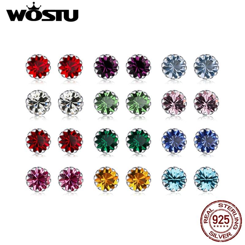 WOSTU 100% 925 Sterling Silver 12 Color Birthstone Small Stud Earrings For Women Wedding Tiny Earrings Zircon Jewelry CQE862
