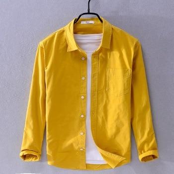 2019 New arrival Suehaiwe's brand long sleeve shirt men fashion yellow shirts for men casual seasons shirt male camiseta - Yellow, XXXL