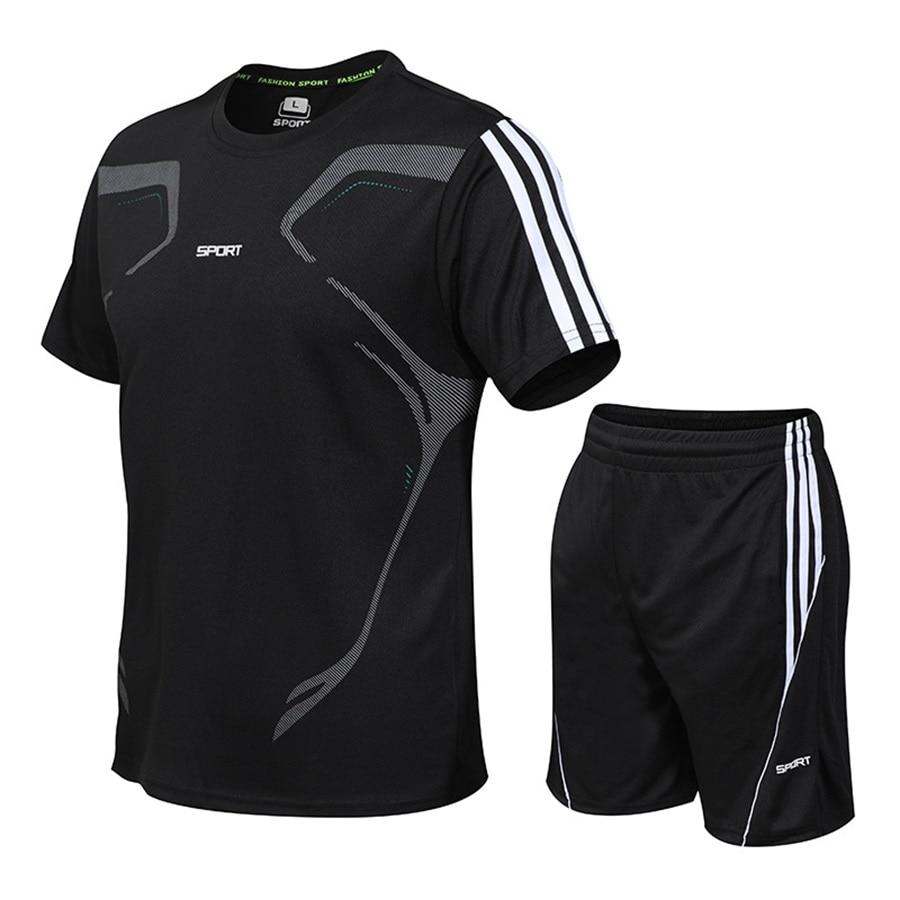 running - Summer Mens Running Sportswear Sets Gym Fitness Short Sleeve Shirt Shorts Set Jogger Football Training Clothes Tracksuit M-5XL