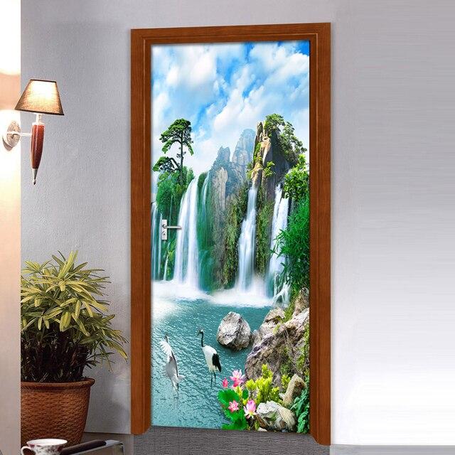 Купить 3d наклейка на дверь водопад настенная живопись для гостиной картинки цена