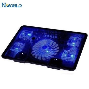 2USB 5 Fan Laptop Cooler Cooling Pad Base LED Notebook Cooler  With Light Fan Slide-proof Stand For Laptop PC 10''-17''1415.6 mini folding usb 2 0 2 fan base cooler pad for 10 14 notebook blue