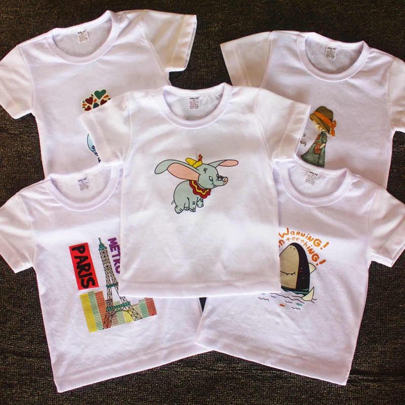 เด็กวัยหัดเดินเด็กฤดูร้อนแขนสั้นเสื้อยืดเด็กผ้าฝ้ายสีขาวเสื้อยืดสีดำสำหรับ Baby Boy TShirt ผู้หญิงเสื้อ Tee 2 3 4 5 6 7 8 ปี