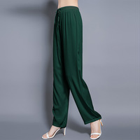 Elastic satin 19 momme mulberry silk elastic waist drawstring wide leg pants women loose draped mulberry silk trousers 20103