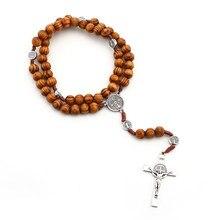 Collier en alliage de Zinc et bois massif, chapelet Vintage avec croix de jésus, bijoux sur le cou, idée cadeaux, 202