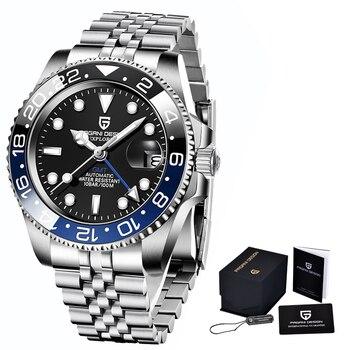 2020 New PAGANI DESIGN Luxury Men GMT Automatic Machinery Watch 40MM Ceramic bezel Jubilee Strap Sapphire 100M Waterproof Clock - Black blue