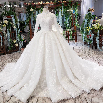 HTL490 Luxury Muslim Wedding Dresses 2021 Long Sleeves High Neck Lace Up Back Appliques Ball Gown Sequined - discount item  50% OFF Wedding Dresses