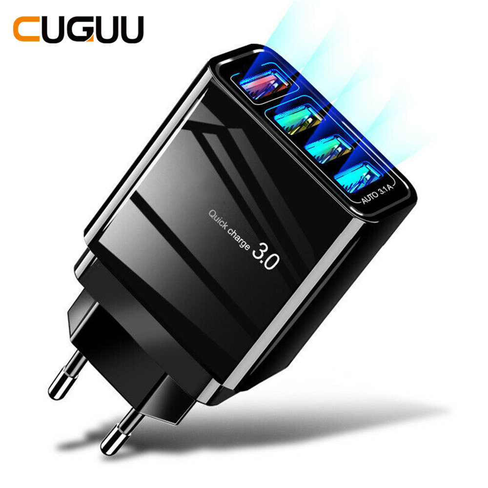 <font><b>QC3.0</b></font> <font><b>USB</b></font> Quick Charger 3A For iPhone <font><b>4</b></font> <font><b>USB</b></font> <font><b>Ports</b></font> Fast Wall Charger For Samsung Power Adapter US EU UK Plug Mobile Phone Charger image