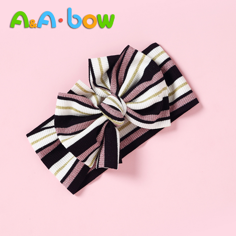 1PCS Children's Hair Accessories Baby Stripe Bow Cross Headband Knot Headbands Knot Headwrap Baby Girl Multicolor 6 Colors