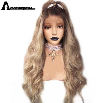 Anogol Ombre Ash Blonde Long Straight Synthetic Lace Front Wig with Baby Hair For Adult Women Middle Part should length dark root ash blonde lace front wig synthetic