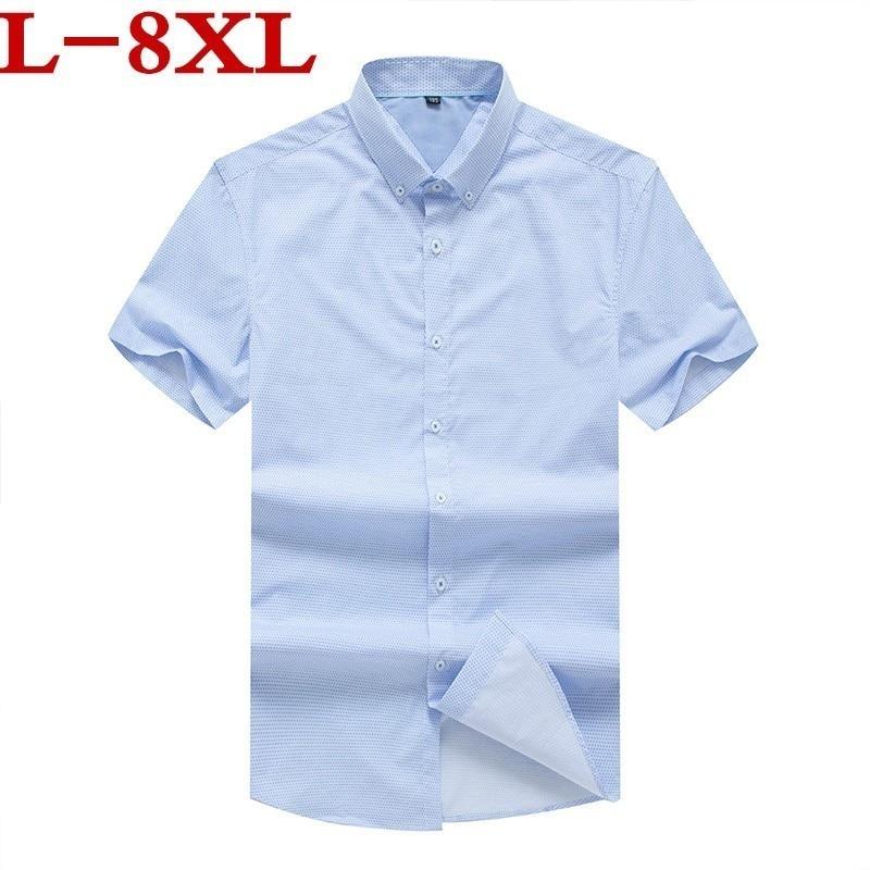 Plus Size 8xl Short Sleeve Shirt Men Clothes 2020 Summer Mens Shirts Casual Slim Fit Plaid Camisa Masculina Cotton Chemise Homme