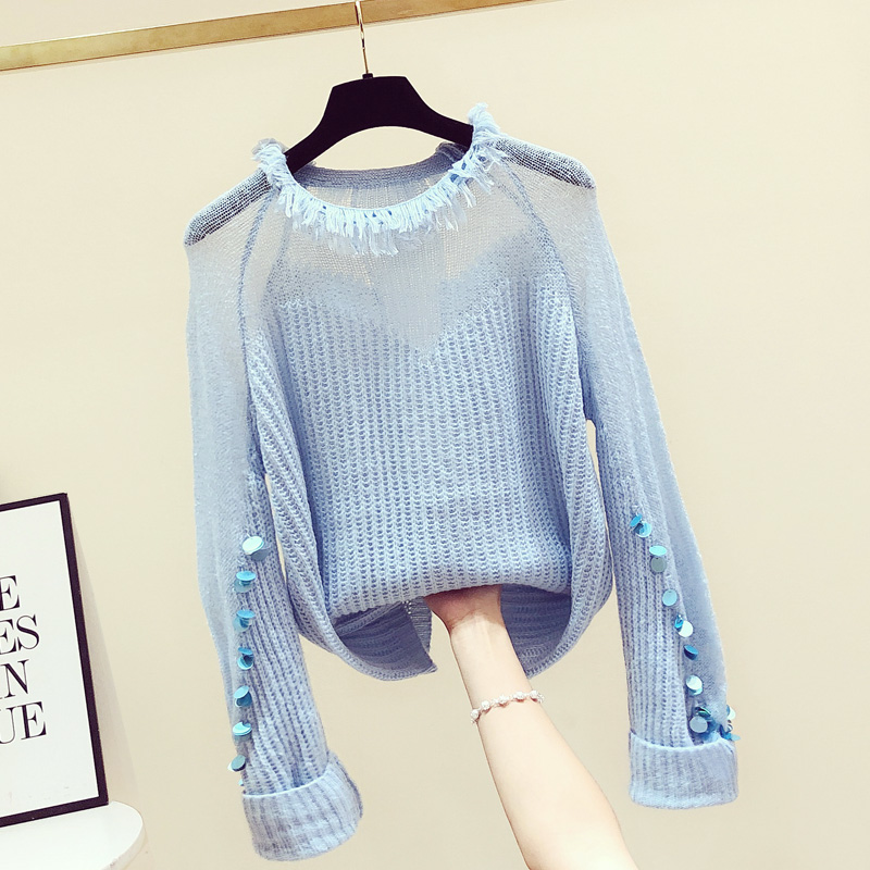 2020 Spring Autumn New Korean Style Women's Sweaters Long Sleeve Sequined Lantern Sleeve Loose Jumper Sexy Top Ladies Tops