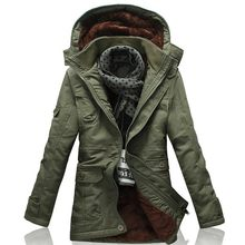 2020 New Winter Khaki Trench Coat For Men Fashion Hooded Windbreaker Fur Lining Warm Winter Mens Overcoat Large Size 5XL Jackets(China)