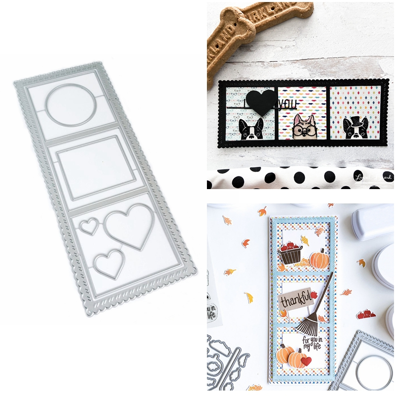 Essential Circle Square Heart Nesting Frame Metal Cutting Dies Set For DIY Scrapbooking Craft Album Paper Cards 2020 Hot-0