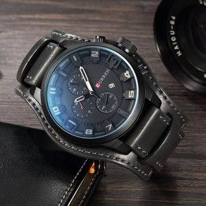 Image 4 - CURREN Top marka luksusowe męskie zegarki męskie zegary data Sport wojskowy skórzany pasek do zegarka kwarcowy biznesowy zegarek męski prezent 8225