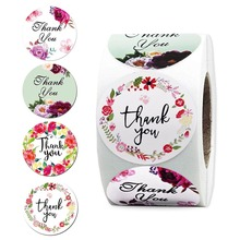 500 Pcs/roll Round Thank You Stickers Seal Label with 4 Design Flower Stickers for DIY Envelope Scrapbooking Stationery Sticker