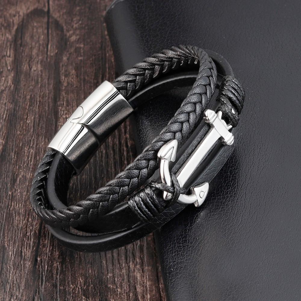 Punk Stainless Steel Anchor Bracelets Genuine Leather Bracelet & Bangles for Men Jewelry Black Color Fashion Gift