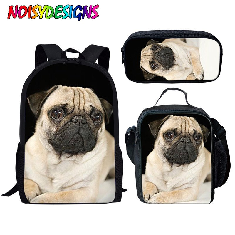 NOISYDESIGNS School Backpack Pug Dog Print School Bags For Girls Boys Animal Kids Backpack Children Satchel Bookbag Teenager