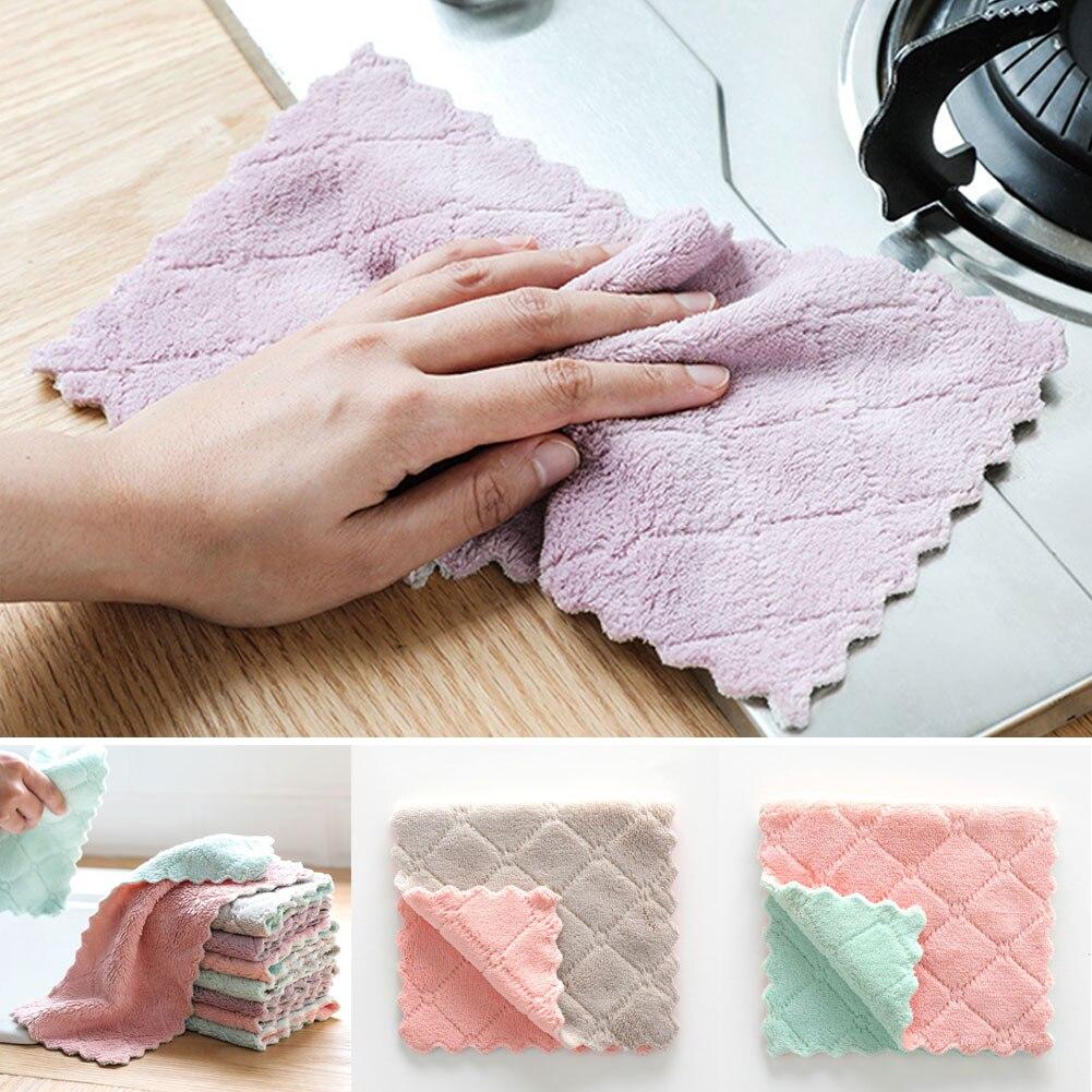 1x Dish Towels Coral fleece Kitchen Tea Towels Home Microfiber Cleaning Towel