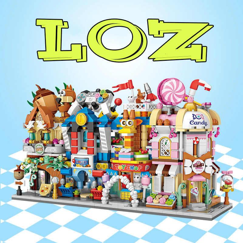 LOZ Mini komercyjny widok ulicy scena DIY klocki kreator technic architektury Model zabawki z klocków dla dzieci chłopiec prezent C