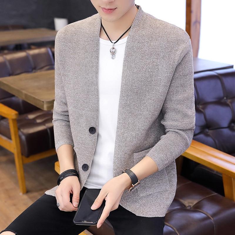 Sweater Men Khaki Grey New Black Navy Fashion Wine Red Long Sleeve Casual O-Neck Cardigan Men Winter Sweater